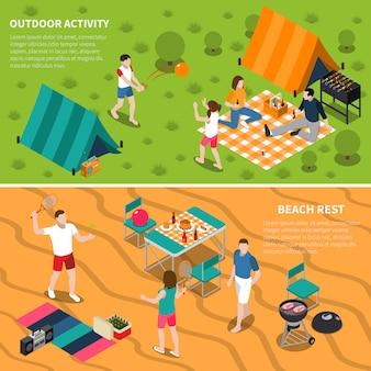 Summer outdoor activity people banner set