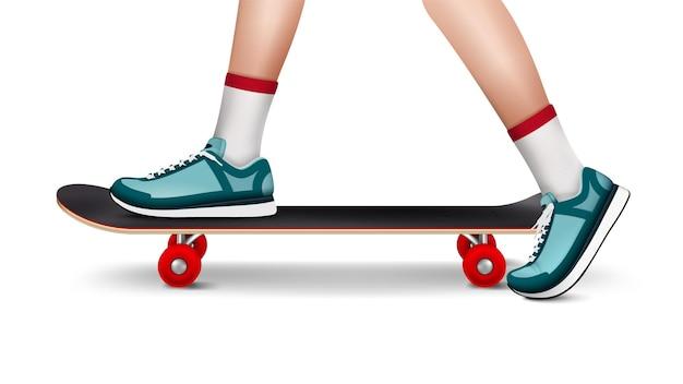 Летняя спортивная реалистичная композиция, изображающая скейтборд с обутыми в кроссовки ногами подростка