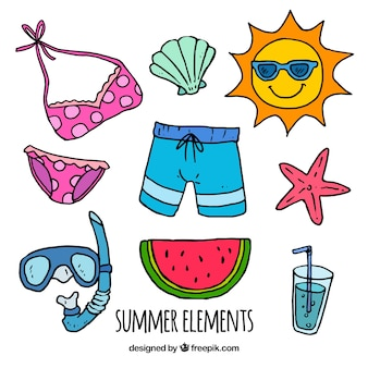 Summer pack of decorative hand-drawn elements