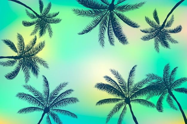 Summer palm silhouettes background