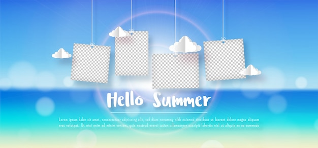 Summer panorama blurred tropical beach bokeh background with hanging blank photo