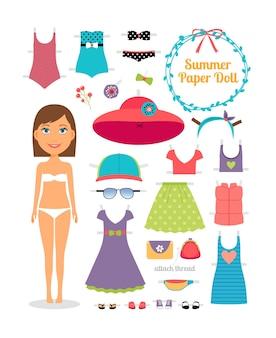 Летняя бумажная кукла. девушка с платьем и шляпой. симпатичная кукла из бумаги. шаблон тела, экипировка и аксессуары. летняя коллекция.