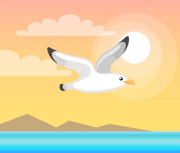 Summer papercard with flying seagull