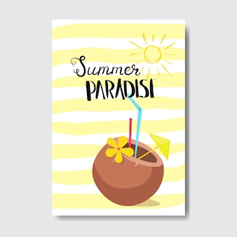 Летний райский коктейльный кокосовый значок