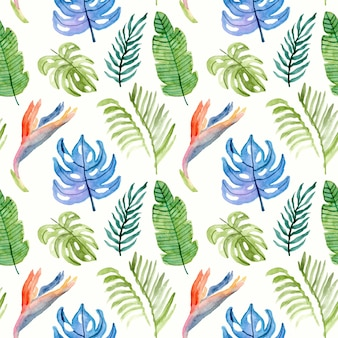 Summer paradise floral watercolor seamless pattern