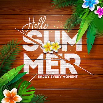 Summer paradise holiday design with flower and tropical plants on vintage wood background