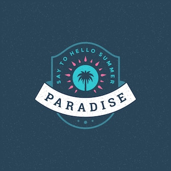 Summer paradise logo emblem with palm trees
