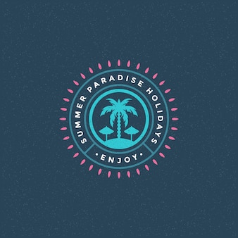Summer paradise logo with palm trees