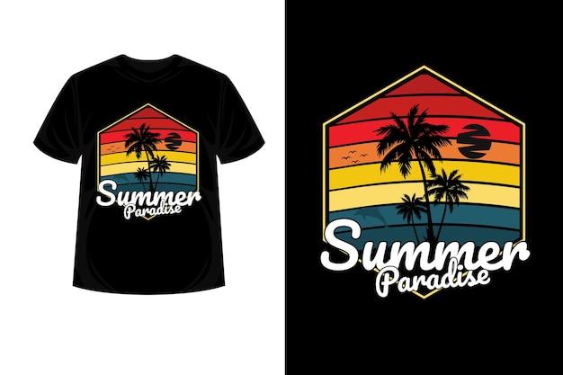 Summer paradise merchandise silhouette t shirt design