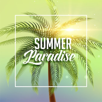 Summer paradise poster with palm tree and sun light