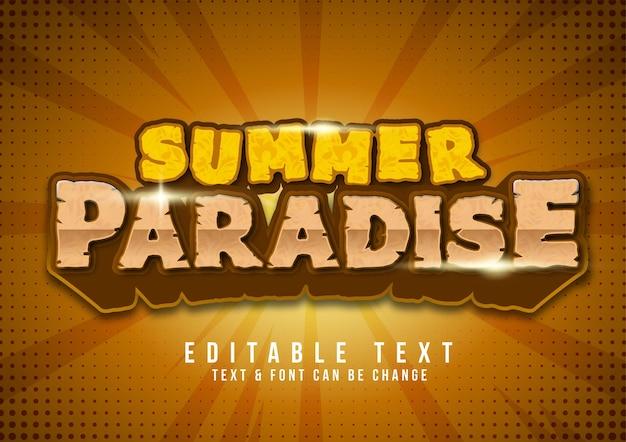 Летний рай с текстовым эффектом бесплатно Premium векторы