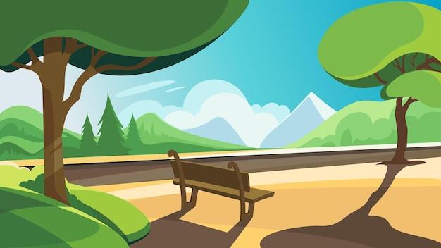 森と山を背景にしたサマーパーク。美しい自然の風景。