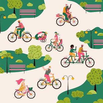 Летний парк с людьми, катающимися на велосипедах. различные мультипликационные велосипедисты