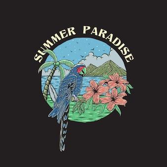 손으로 그린 스타일로 해변의 여름 앵무새
