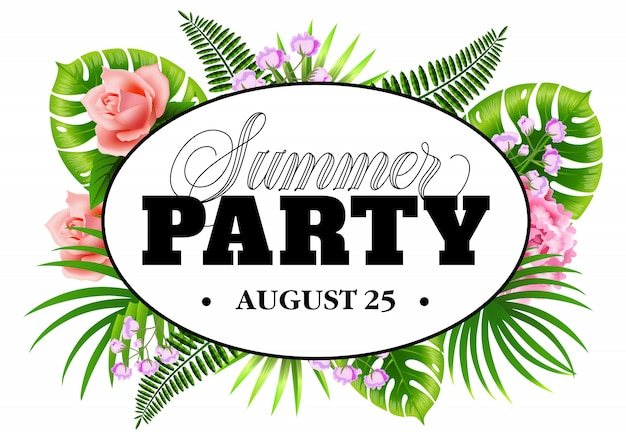 Summer party august twenty five flyer with tropical leaves and flowers.