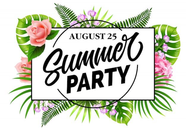 Festa d'estate agosto venticinque volantino con foglie e fiori tropicali.