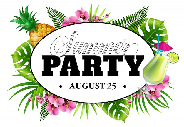 Summer party august twenty five invitation with palm leaves, flowers, pineapple