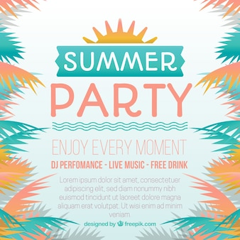 Summer party background with palm leaves