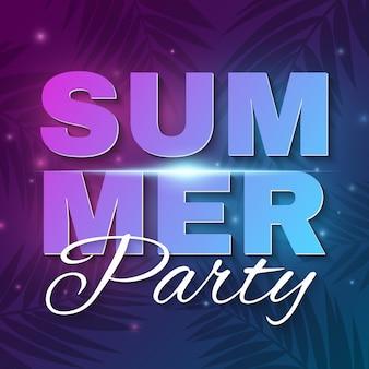 Летняя вечеринка баннер. светящийся неоновый текст баннера с летающими светящимися огнями. темно синий фиолетовый фон с пальмами. танцевальная вечеринка.