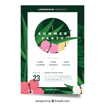Summer party brochure template with flowers
