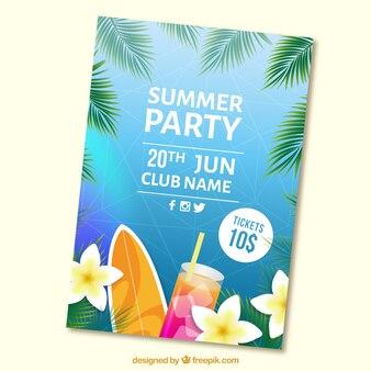 Brochure del partito estivo con cocktail e tavola da surf