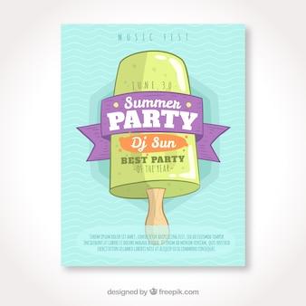 Летняя листовая брошюра с рисованным мороженым