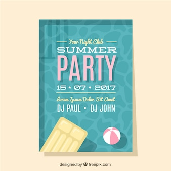 Summer party brochure with swimming pool