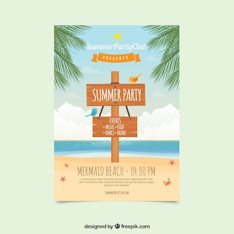 Summer party brochure with wood sign