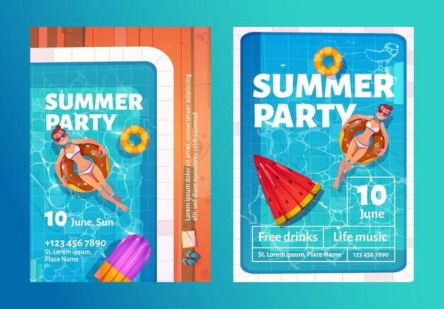 Summer party cartoon flyers with woman in swimming pool on inflatable ring
