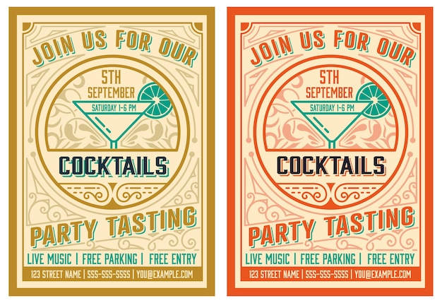 Summer party cocktail flyer with vintage ornaments