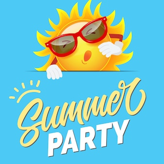 Summer party colorful invitation with cartoon sun in sunglasses on sly blue background.