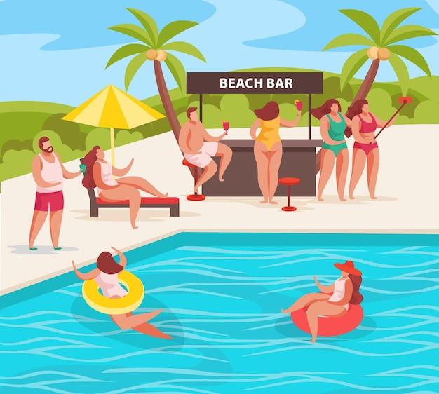 Composizione nel concetto di festa estiva con personaggi umani di paesaggio all'aperto di persone rilassanti bar sulla spiaggia e illustrazione della piscina