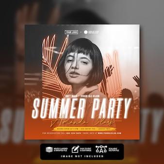 Summer party concert social media post feed