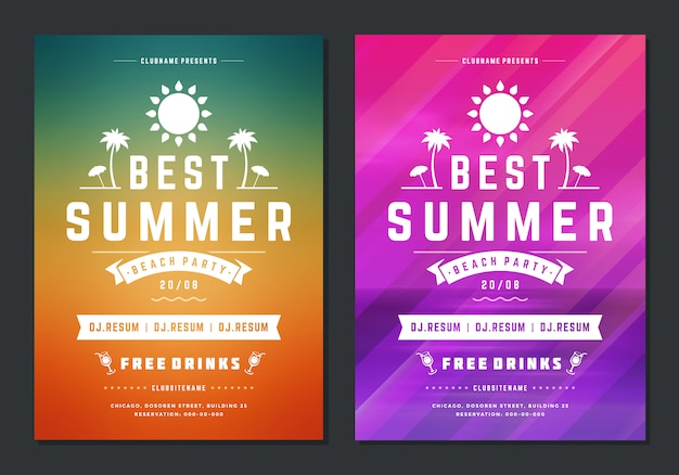 Summer party design poster or flyer night club event modern typography