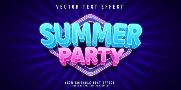Редактируемый текстовый эффект летней вечеринки