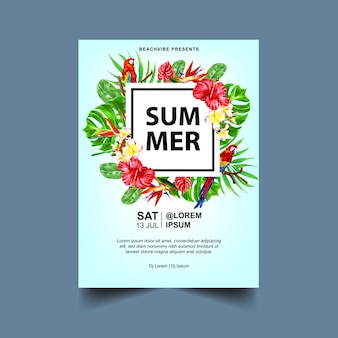 Summer party event flyer or poster template