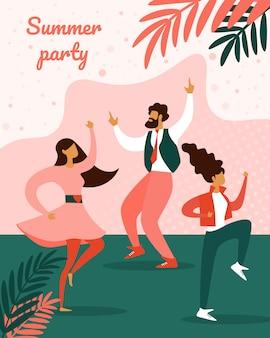 Summer party festival вертикальный баннер плакат