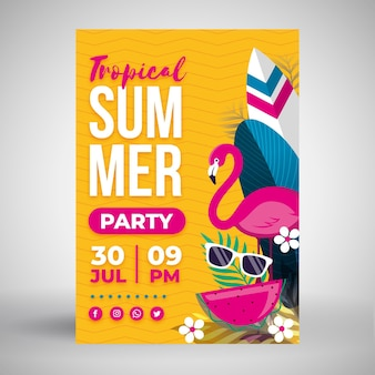 Summer party flat design poster