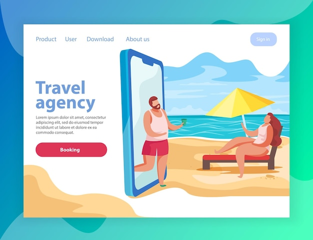 Summer party flat landing page website  with conceptual  of smartphone and links with text  illustration