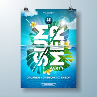 Summer party flyer design template with tropical palm leaves and flower