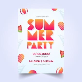 Дизайн флаера летней вечеринки с кусочками акварели, мороженым и пляжными шарами