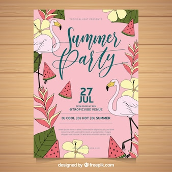 Summer party flyer flamingos and vegetation