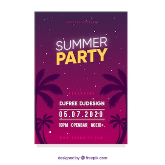 Summer party flyer in flat style