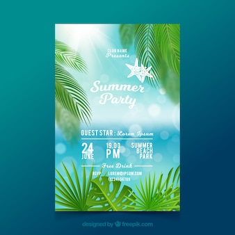 Summer party flyer in realistic style