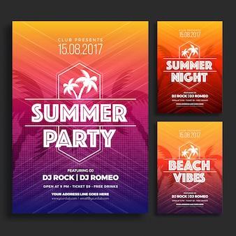 세 가지 다른 색상 옵션에서 여름 파티 전단이나 포스터 디자인.