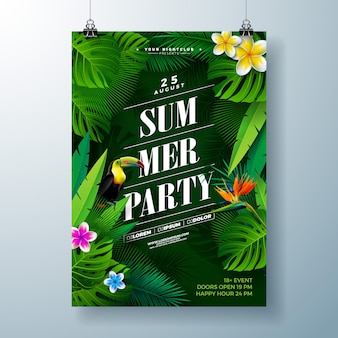 Summer party flyer or poster template design with flower and tropical palm leaves