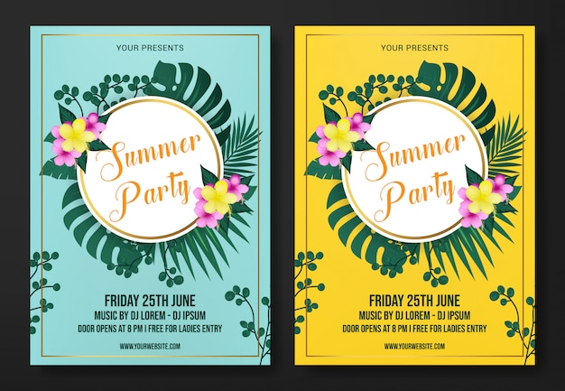 Summer party flyer template vector
