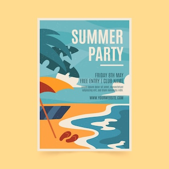 Summer party flyer template with beach