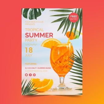 Summer party flyer template with cocktail