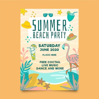 Summer party flyer template with flamingo and beach